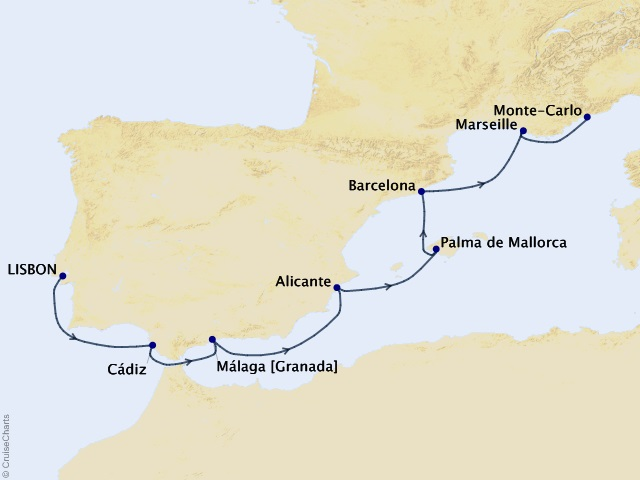 7-night Iberian Quest Voyage Map