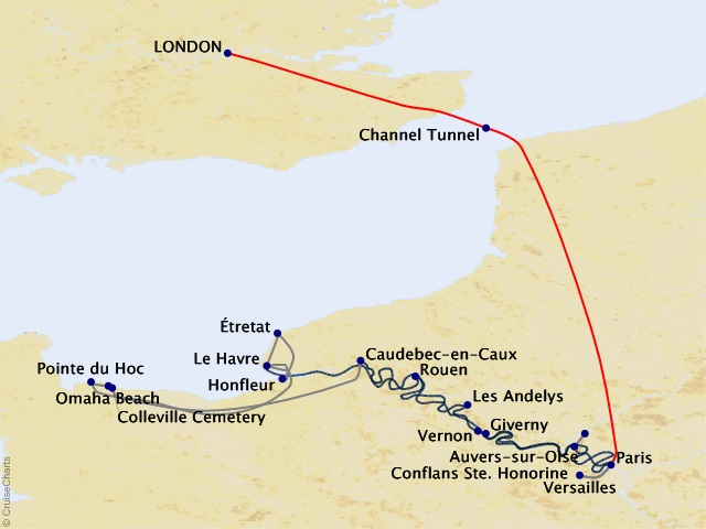 11-night Cruising the Seine plus Paris & London Cruise/Land Package Map