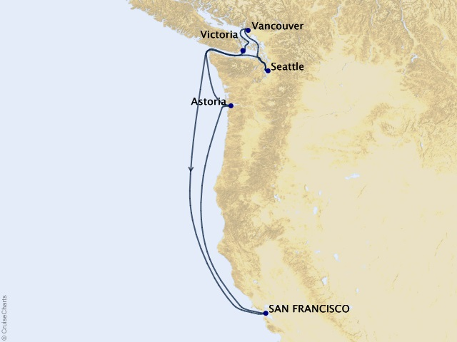7-night Pacific Northwest Coast Cruise Itinerary Map