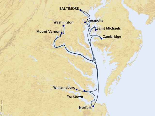10-night American Revolution Cruise Map