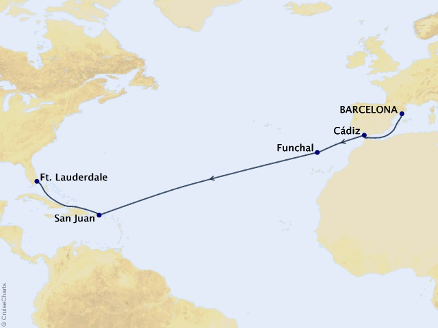 15-night Transoceanic Cruise Map