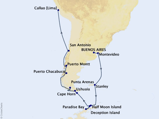 21-night Southernmost Sojourn Cruise Map