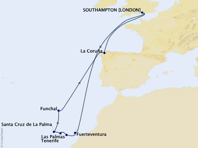14-night Canary Islands Celebration Cruise Map
