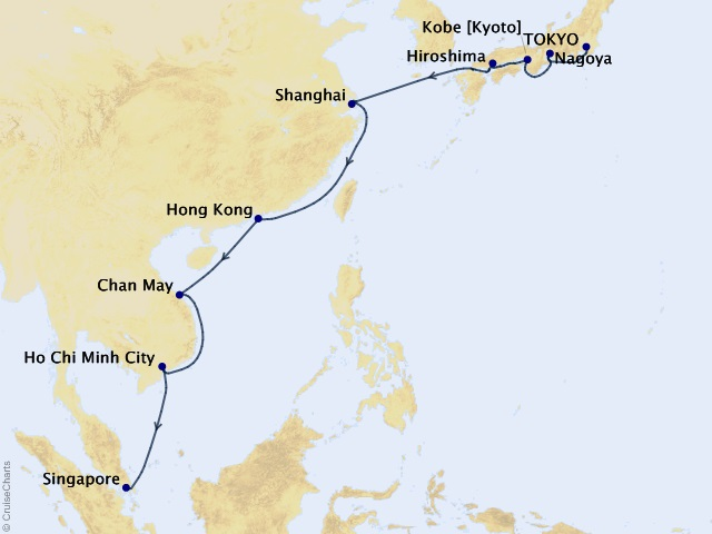 16-night Far East Marvels Voyage Map