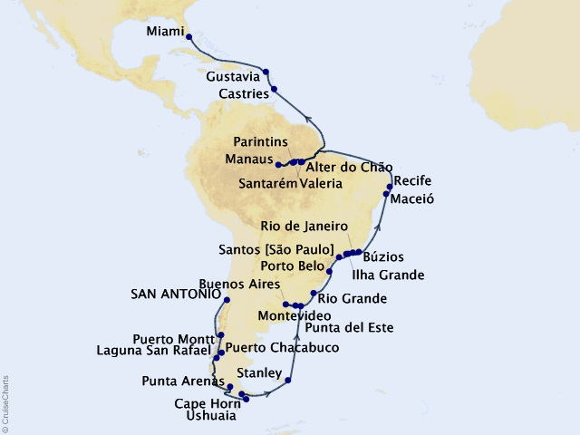 50-night South America Synergy Voyage Map