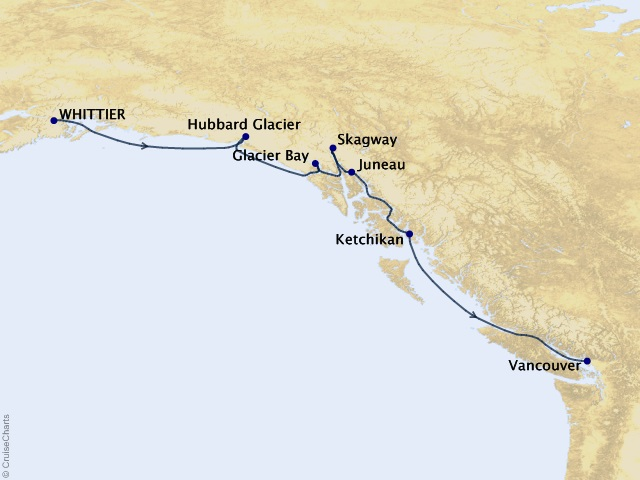 7-night Voyage of the Glaciers with Glacier Bay (Southbound) Cruise Itinerary Map