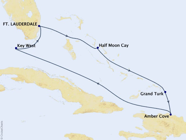 7-night Tropical Caribbean Cruise Itinerary Map
