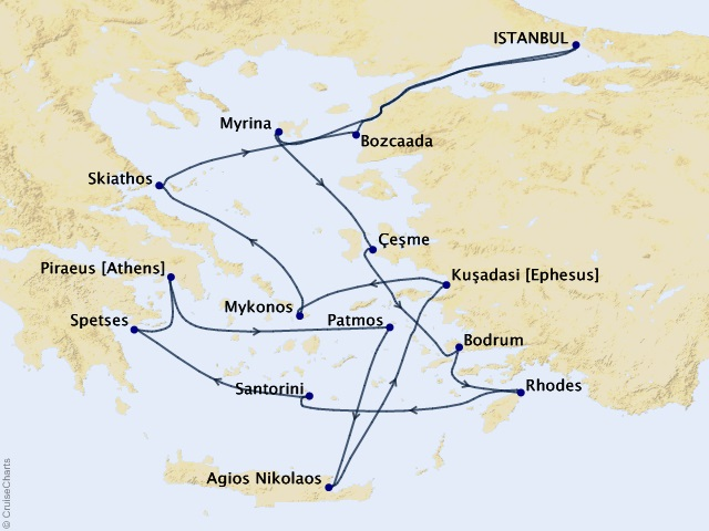 14-night Mediterranean Wonders Cruise Map