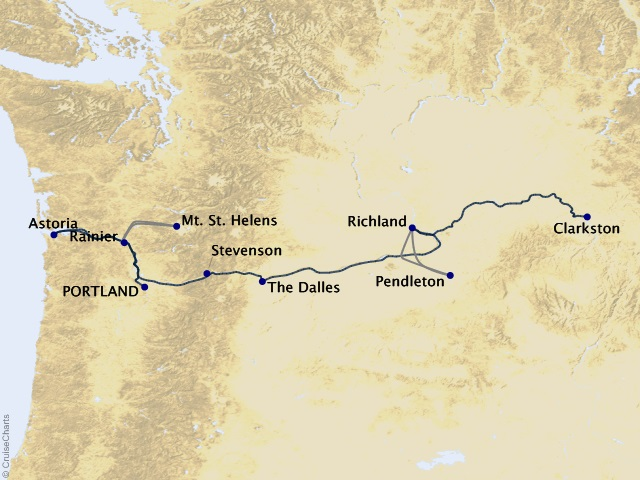 7-night Columbia and Snake Rivers Cruise Map