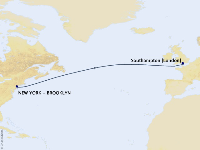 7-night Eastbound Transatlantic Crossing Cruise Map