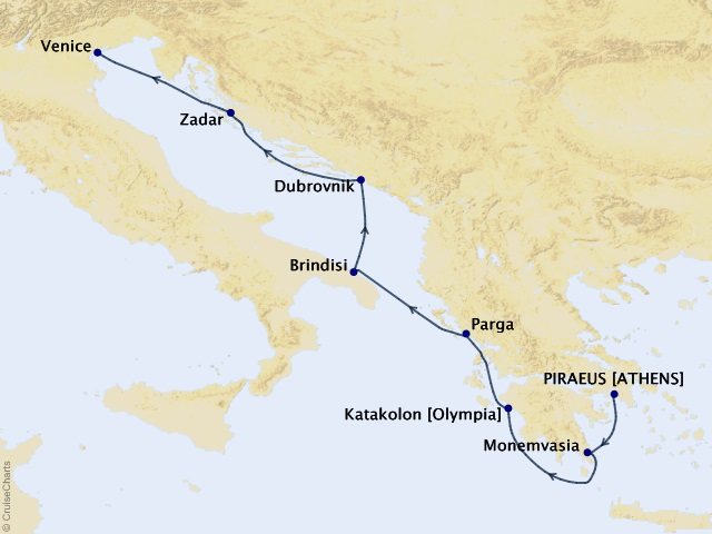 7-night Greece and Dalmatian Delights Cruise Map