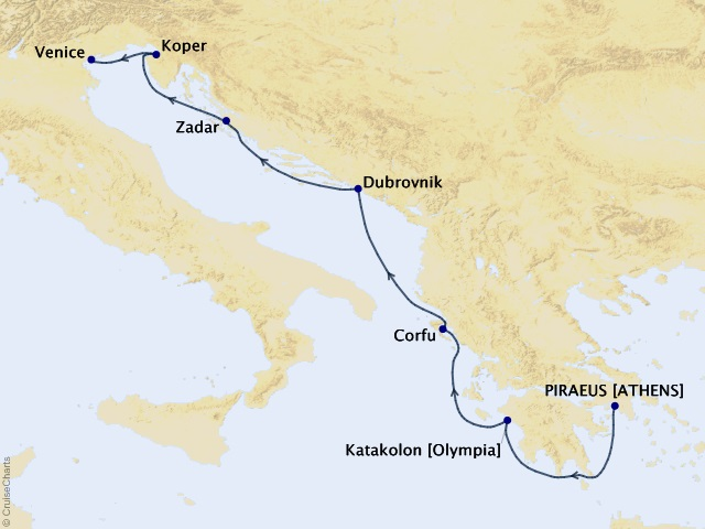 7-night Adriatic Wonders Voyage Map