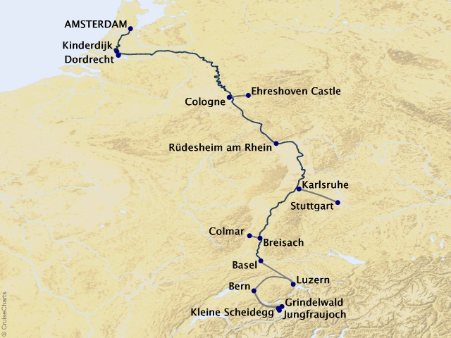 9-night The Rhine, Swiss Alps, and Amsterdam – Southbound Cruisetour Map