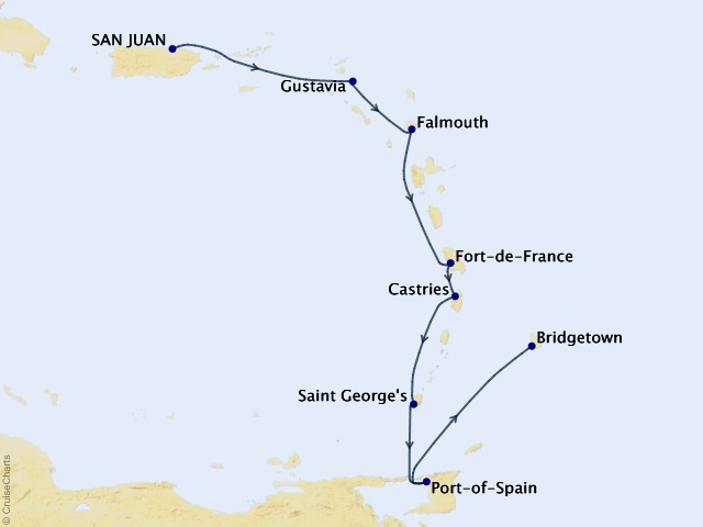 8-night Caribbean and Central America Cruise Map