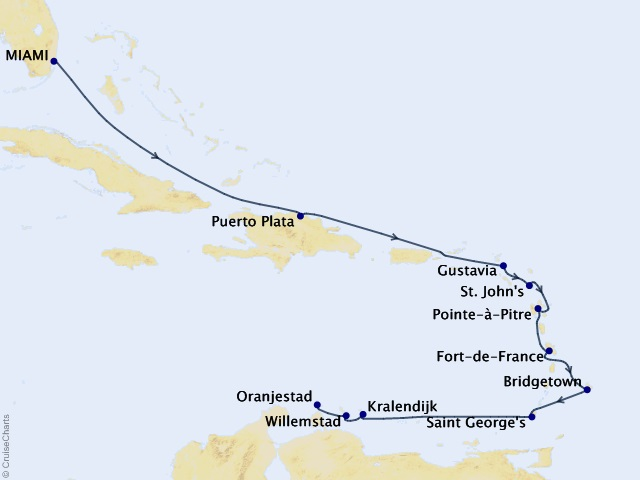 12-night Amber to Antilles Voyage Map