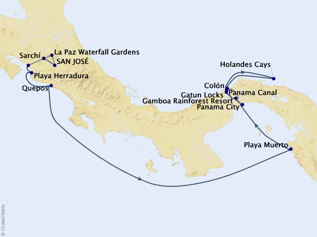 11-night The Panama Canal & Costa Rica Cruise/Land Package Map
