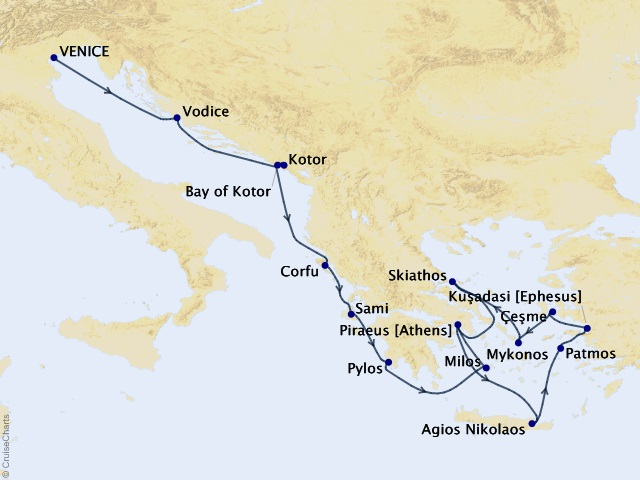 14-night Adriatic & Aegean Isles Cruise Map