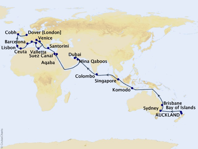 55-night World Liner Cruise – Auckland to London (Dover)