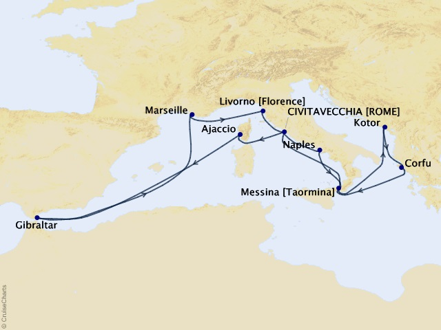 14-night Western Mediterranean and Adriatic Medley Cruise Map