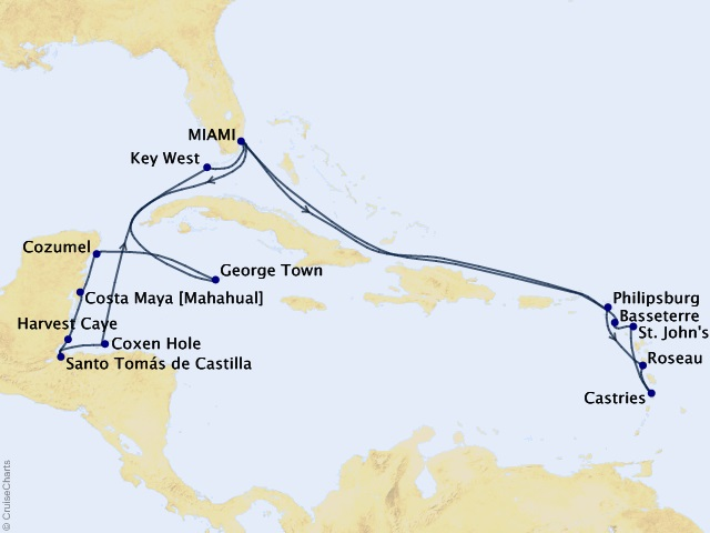 20-night Island Escapades Cruise Map