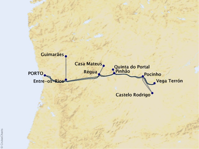 7-night Villages and Vintages – Cruising the Douro River Valley Map