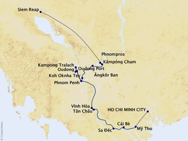 7-night Charms of the Mekong Cruise Map