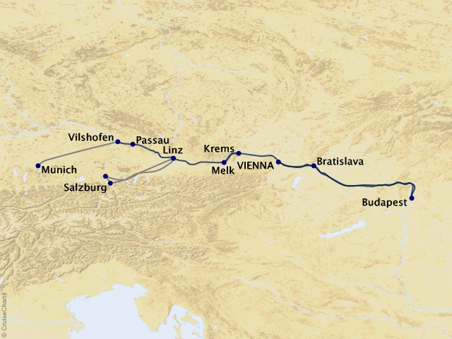 7-night Holiday Magic: Danube Family Westbound River Cruise Map