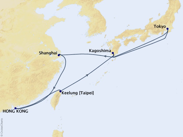 15-night Sparkling Cities of Asia Cruise Map