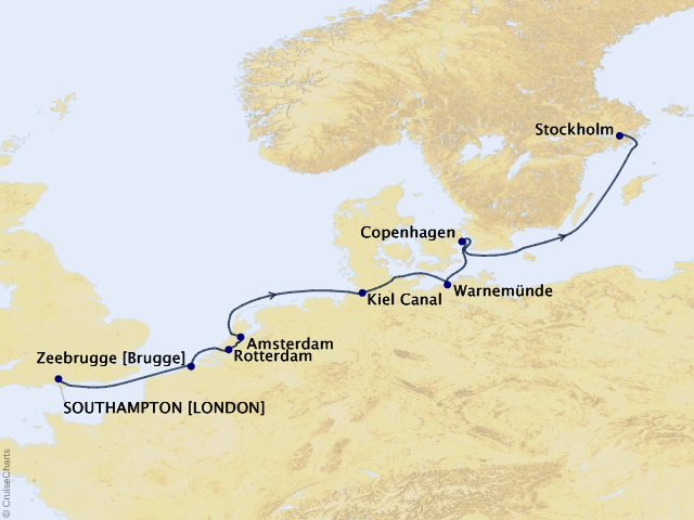 10-night Northern Capitals Voyage Map