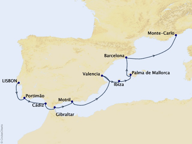 11-night Mediterranean Cruise Map