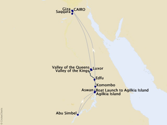 9-night Egypt – Jewels of the Nile Cruise/Land Package Map
