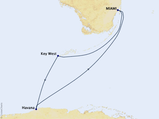 4-night Havana Getaway Voyage Map