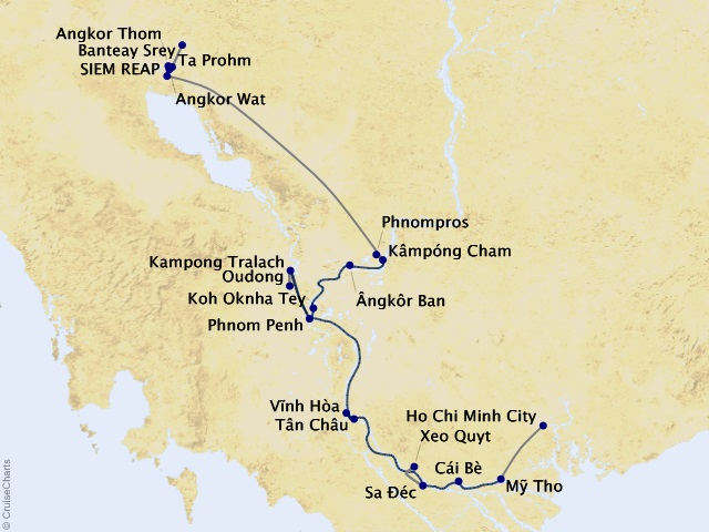 10-night Riches of the Mekong Cruise/Land Package Map