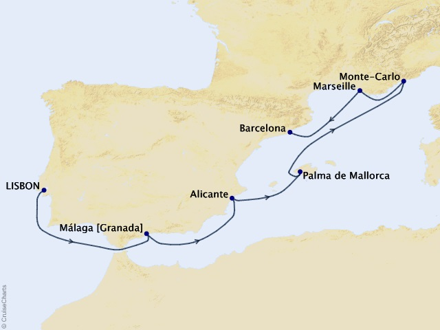 7-night Regal Iberia Voyage Map