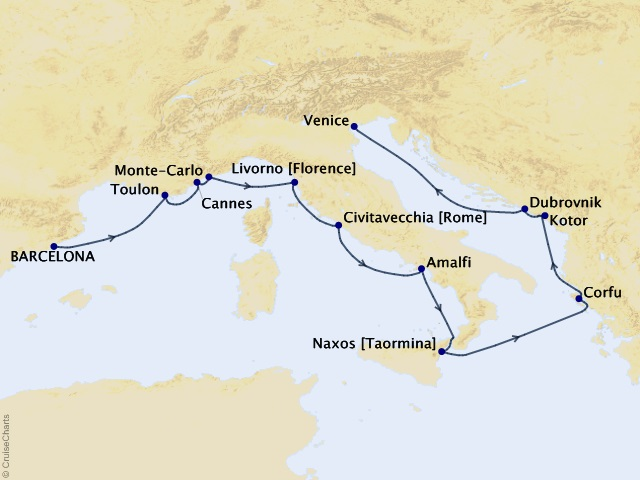 12-night Mediterranean Flair Voyage Map