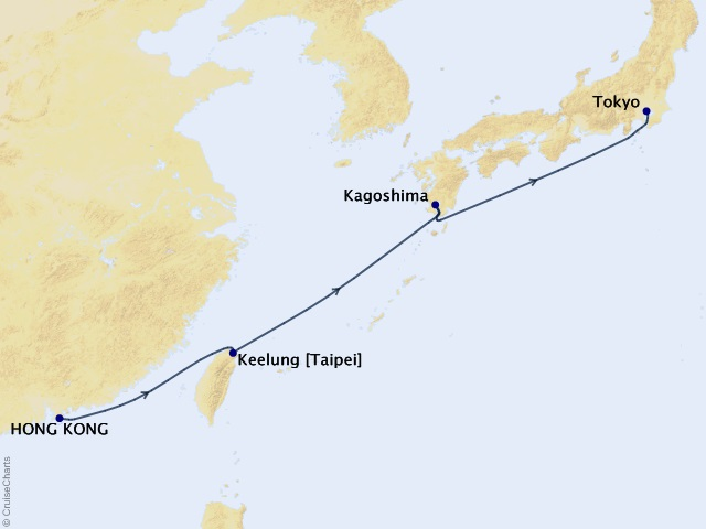 7-night Sparkling Cities of Northern Asia Getaway Cruise Map