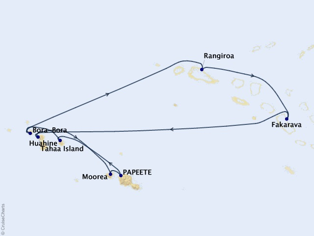 10-night Society Islands & Tuamotus Cruise Map
