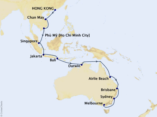 24-night Hong Kong to Melbourne Cruise Map