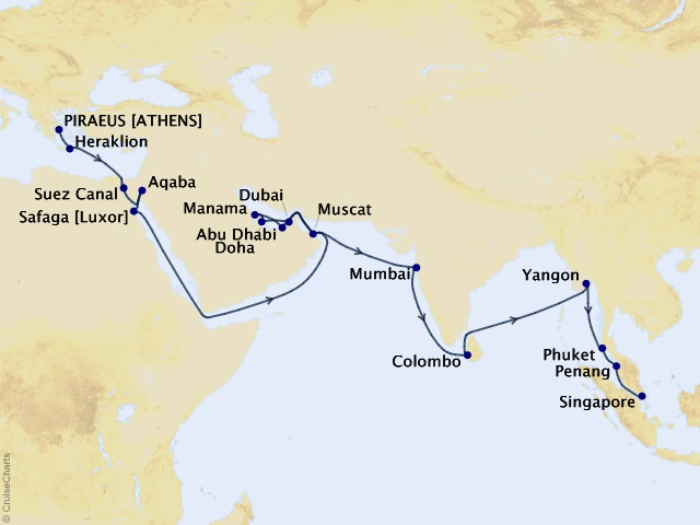 41-night Grand Journey – Middle East, United Arab Emirates, & Southeast Asia Cruise Map