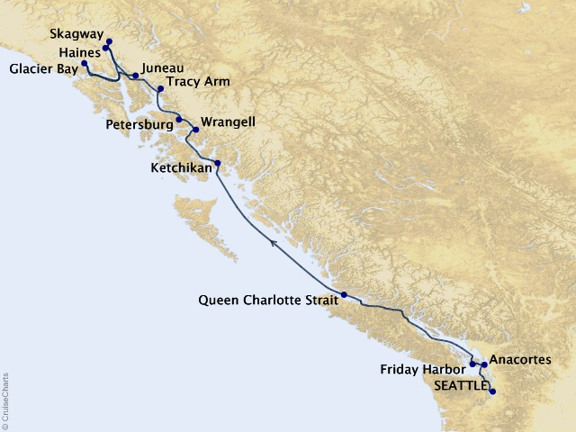 14-night Alaska Inside Passage Cruise  Map