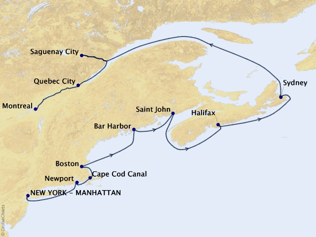 10-night New York to Montreal Cruise Map