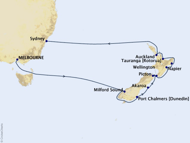 Australia / New Zealand Voyage Map
