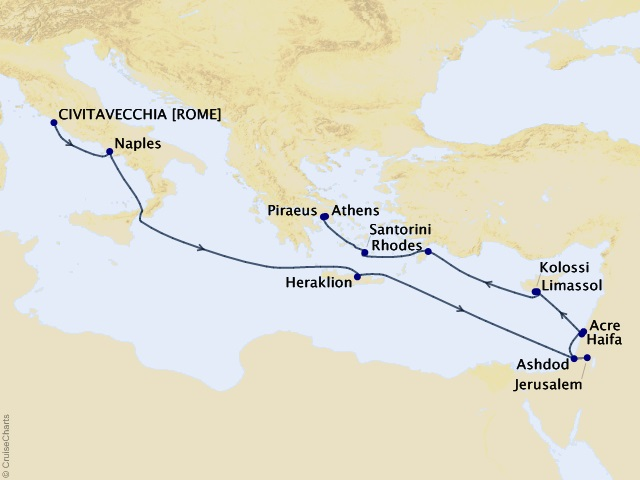 14-night Cities of Antiquity & the Holy Land Cruise Map