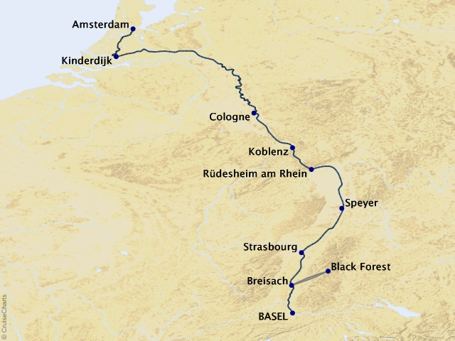7-night Rhine Getaway River Cruise Map