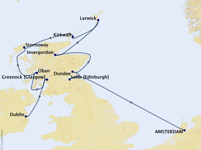 12-night Scotland Intensive Voyage Map