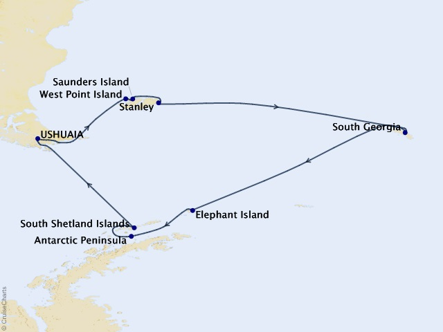 18-night Antarctica Expedition Cruise Map