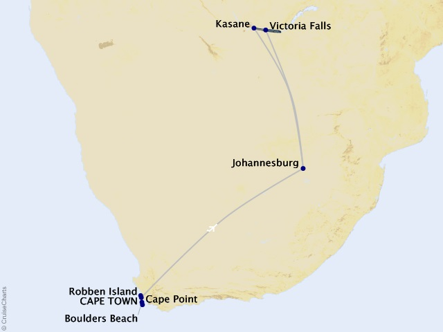 9-night Discover Africa Cruise/Land Package Map