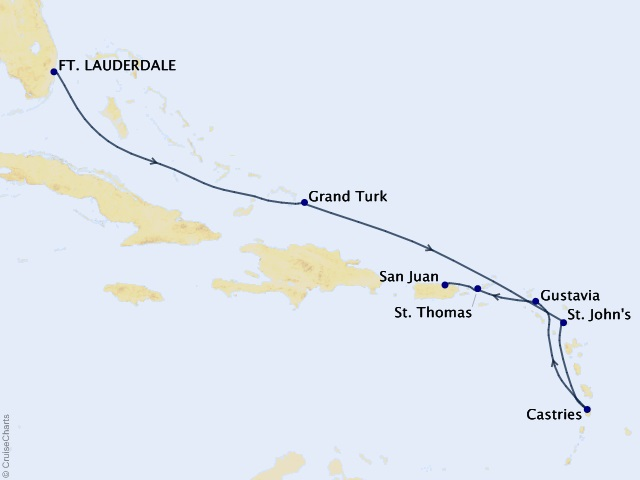 9-night Caribbean & Central America Cruise Map