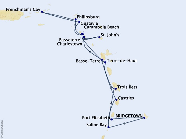 14-night Exotic Caribbean In-Depth Cruise Map