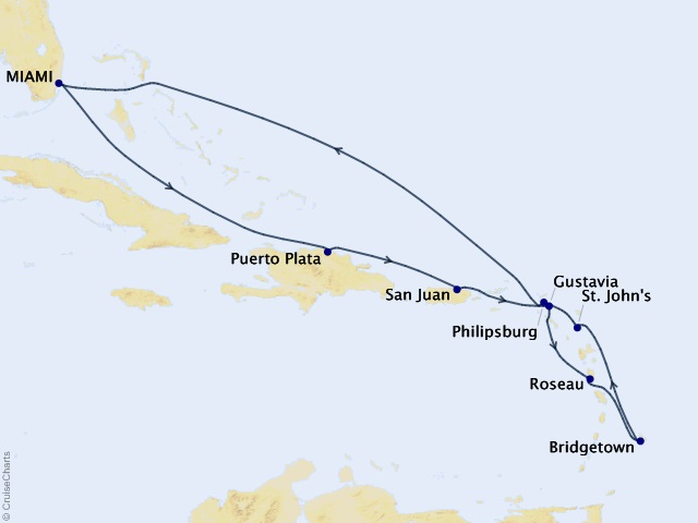11-night Cool Caribbean Breeze Cruise Map